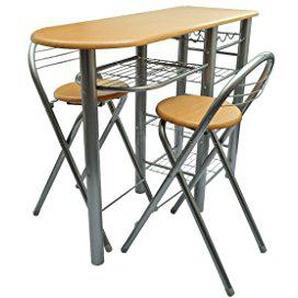 Anself Küchenbar Küchentisch mit 2 Stühlen und Regal Silber und Hellbraun klappbar