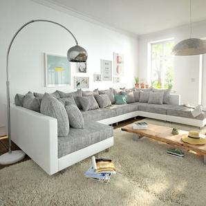 Wohnlandschaft Clovis XL Weiss Hellgrau Modulsofa Hocker, Design Wohnlandschaften, Couch Loft, Modulsofa, modular