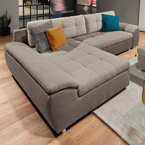 Raum.id Polsterecke mit Schlaffunktion und Bettkasten, beige, B/H/T: 280x42x53cm, Inkl. Rückenkissen, hoher Sitzkomfort