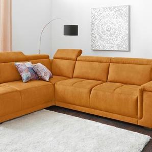Polstergarnitur, gelb, Ottomane links, B/H/T: 277x44x56cm, hoher Sitzkomfort