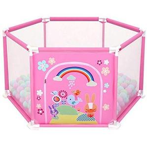 Touchmark Laufgitter, 6-seitig Kinder Baby Indoor Outdoor Laufgitter Laufstall Baby Absperrgitter Size 148 * 66.5 * 64cm (Rosa)