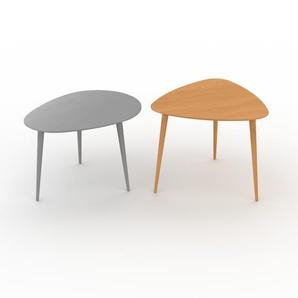 Couchtisch Buche, Holz - Eleganter Sofatisch: Beste Qualität, einzigartiges Design - 67/59 x 44/50 x 50/61 cm, Konfigurator