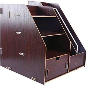 Foxom Schreibtischorganizer Holz, Organizer mit Schubladen, Büro Organisation Aufbewahrungsbox Schreibtisch (Rotbraun)