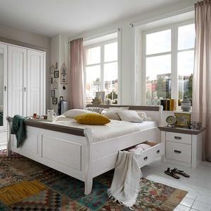 Bett im Landhausstil Wei� Grau (3-teilig)
