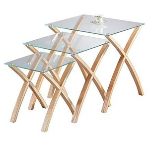 ASPECT Miami Set/3 Nesting Table- Tempered Glass,Solid Wood Legs -Clear/Oak, Wood, Clear