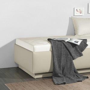 Relaxliege in Kunstleder beige mit Bettkasten 100x200 cm - Eriko