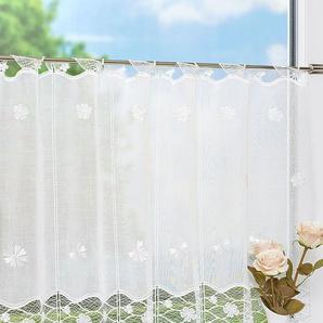 Scheibengardine aus Plauener Spitze Blütenmeer (Bx H) 48cm * 60cm weiß