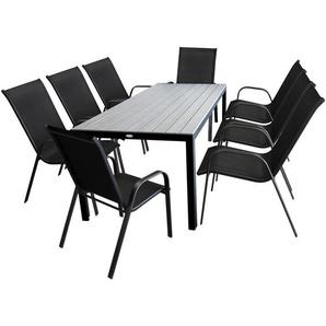 9tlg. Gartengarnitur, Aluminium/Polywood Gartentisch 205x90cm Schwarz/Silbergrau + 8 Stapelstühle Schwarz - WOHAGA®