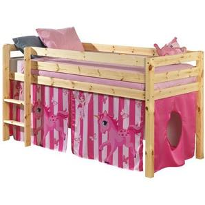 Spielbett Escalera mit Textilvorhang, 90 x 200 cm