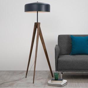 Madison Tripod-Stehlampe, Navyblau und Holz