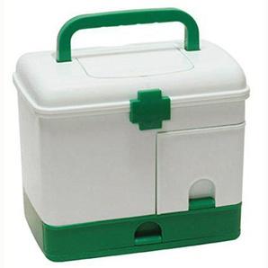 LVPY Medizinkoffer, Hausapotheke mit Griff 22 x 14,5 x 20,3cm - Medizinbox Aufbewahrung und Transport für Medikamente Aufbewahrungsbbox, Grün+ Weiß