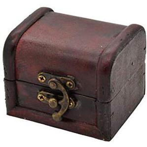 AMAHOFF Schatztruhe 7,5x6x6 cm Farbe: braun nachhaltig Koffertruhe Holztruhe Schatzkiste Piraten Schatzsuche Holz Schatulle (leer)