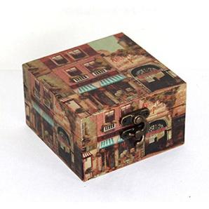 AAF Nommel®, Holzbox in Leinenoptik mit Bildern Nr. 304, Geschenkekiste, Schmuckkiste, ca. 10 x 10 x 6 cm