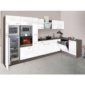 Respekta Winkelküche 370 cm Weiß Seidenglanz-Eiche York Nachbildung