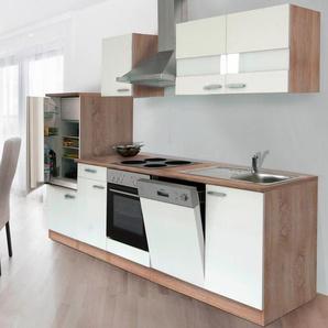 Respekta Küchenzeile KB280ESW 280 cm Weiß-Eiche Sägerau Nachbildung