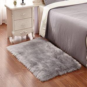 Cumay Faux Lammfell Schaffell Teppich (60 x 90 cm) - Geeignet für Wohnzimmer Teppiche Flauschig Lange Haare Fell Optik Gemütliches Schaffell Bettvorleger Sofa Matte (Grau, 60 x 90 cm)