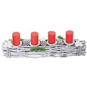 Mendler Adventskranz länglich, Weihnachtsdeko Adventsgesteck, Holz 60x16x9cm weiß-grau ~ mit Kerzen, rot