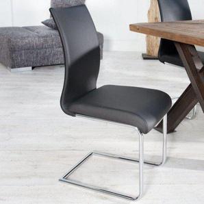Moderner Design Freischwinger Stuhl SUAVE schwarz mit Chromgestell