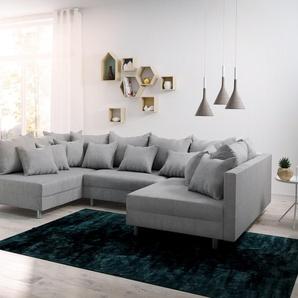 Wohnlandschaft Clovis Grau Flachgewebe Modulsofa, Design Wohnlandschaften, Couch Loft, Modulsofa, modular
