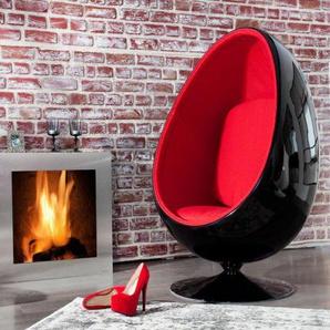 Design Lounge Sessel Sitzei SPACE EGG schwarz rot Drehsessel