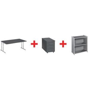 Möbel-Set »Artline Transparent« 3-teilig, Schreibtisch mit C-Fuß, Rollcontainer grau, Kerkmann