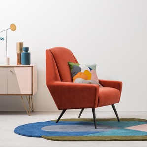 Roco Sessel, Samt in Retro-Orange