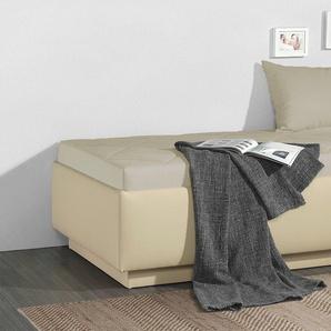 Relaxliege in Kunstleder sandfarben mit Bettkasten 90x200 cm - Eriko