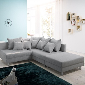 Ecksofa Clovis Grau Flachgewebe Hocker Ottomane Rechts Modulsofa, Design Ecksofas, Couch Loft, Modulsofa, modular