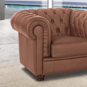 Max Winzer® Chesterfield-Sessel »Kent«, mit edler Knopfheftung, braun, Kunstleder SOFTLUX®