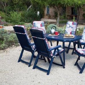 Best 13-tlg. Gartenmöbelset »Elise«, 6 Klappsessel, Tisch 137x90 cm, Kunststoff, blau