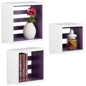 Relaxdays Hängeregale Cube, Wandregal 3er Set, quadratische Würfel Regale für Wand, schwebende Regale, MDF, weiß/violett