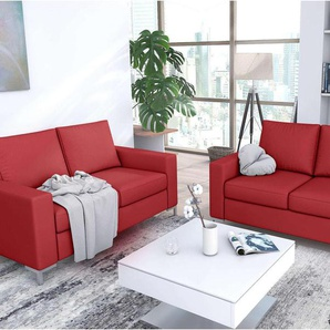 JUSTyou Bertil Polstergarnitur Sofa Couchgarnitur Rot Kunstleder