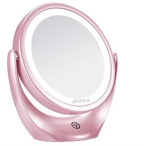 Darcyk Kosmetikspiegel LED Touch HD doppelseitiger Kosmetikspiegel mit 5-facher Vergrößerung-Pink
