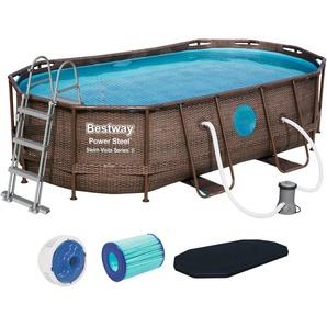 BESTWAY Set: Framepool »Power Steel™ Swim Vista Series™«, 6-tlg., BxLxH: 250x427x100 cm