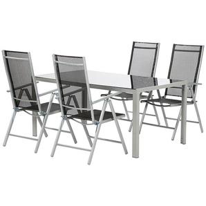 SIENA GARDEN Saturn Gartenmöbelset, 5-teilig, silber/schwarz, Aluminium/Ranotex