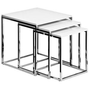 Premier Housewares Tische, verschachtelbar, mit Chromgestell, 42 x 40 x 40 cm, 3-teiliges Set, hochglänzend/weiß