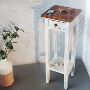 Eleganter Telefontisch LA FLEUR 30cm weiß Teakholz Landhaus Beistelltisch