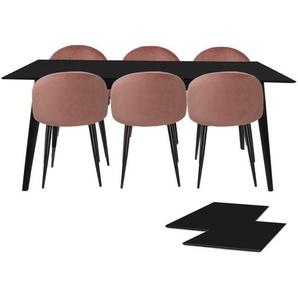 Essgruppe | Esstisch Ausziehbar Schwarz 195/285 mit 6 Samt Stühlen Rosa - Nora
