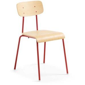 Esstischstuhl Set aus Schichtholz Rot Stahl (4er Set)