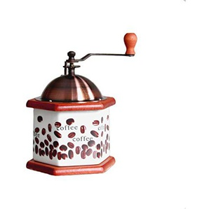 A-RQ Retro Hand Kaffeemühle Manuelle Kaffeemühle Keramik Grinder Solide Holz Basis 13 * 12 * 17 cm