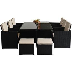 Outsunny Gartenmöbel Set, 27-teilig, für 10 Personen, aus Polyrattan, mit Aluminiumgestell