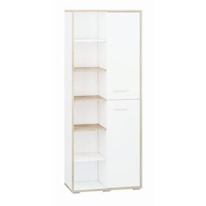 Jugendzimmer - Schrank Forks 03, Farbe: Eiche / Weiß - Abmessungen: 200 x 80 x 40 cm (H x B x T), mit 2 Türen und 10 Fächern
