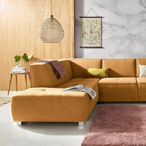 Inosign Ecksofa »Sapporo«, gelb, Ottomane links, B/H/T: 272x40x60cm, hoher Sitzkomfort