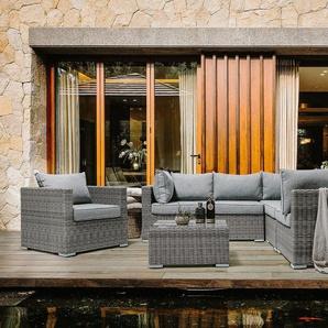 Lounge Set Rattan hellgrau 6-Sitzer Auflagen hellgrau CONTARE