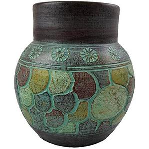 Rotfuchs Vase Bodenvase Tonvase Teracottavase Blumenvase aus Ton 30 cm Handarbeit Dekoration Zubehör Indoor Outdoor Türkisgrün Gold