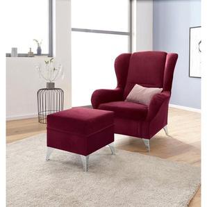 INOSIGN Sessel »Palladio«, wahlweise mit Hocker, rot, Struktur flausch