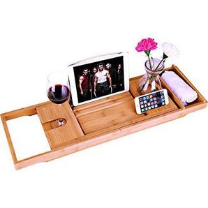 bamboe Badkuip Caddy Bad Tub Tray met Verlengde pagina s opgericht in boek tablet-houder mobiele telefoon Tray & geïntegreerde Wijnglas-houder en andere accessoires plaatsing
