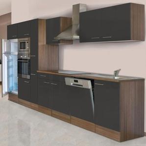 Respekta Küchenzeile KB370EYGMIGKE 370 cm Grau Seidengl.-Eiche York Nachbildung