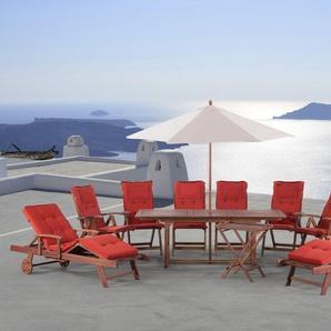 Gartenmöbel Set Holz 6-Sitzer 2x Liegen Auflagen terracotta TOSCANA