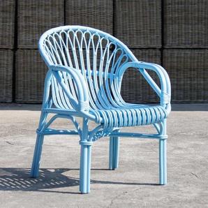 Armlehnstuhl in Blau Rattan